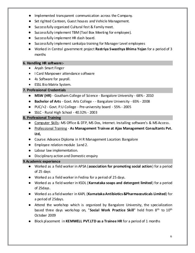 6 - Trainee Social Worker Sample Resume