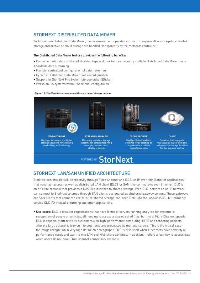 Intelligent Storage Enables Next Generation Surveillance & Security Infrastructure   WHITE PAPER 21 STORNEXT DISTRIBUTED D...