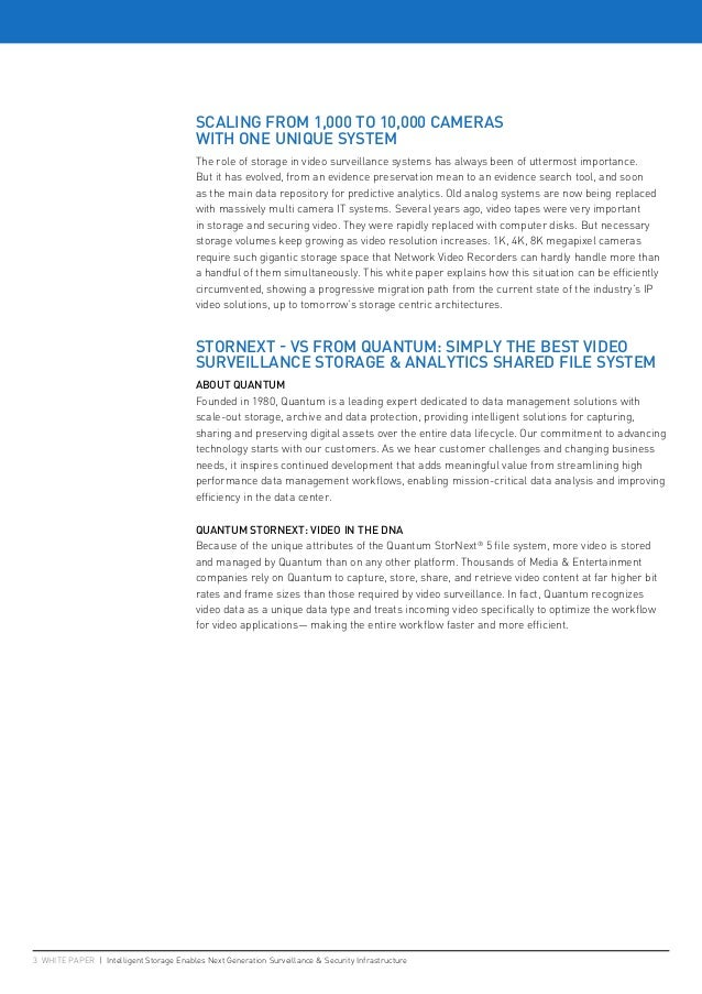 3 WHITE PAPER   Intelligent Storage Enables Next Generation Surveillance & Security Infrastructure SCALING FROM 1,000 TO 1...