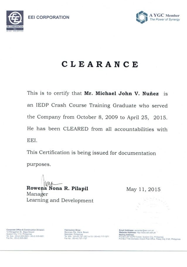 clearance certification