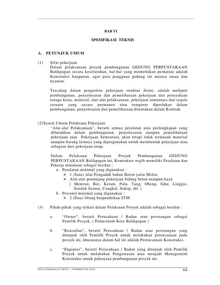 BAB VI                                                                 SPESIFIKASI TEKNIS   A. PETUNJUK UMUM  (1)         ...