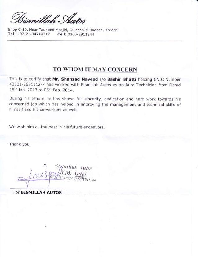 Service Certificate Shahzad Bismillah Autos