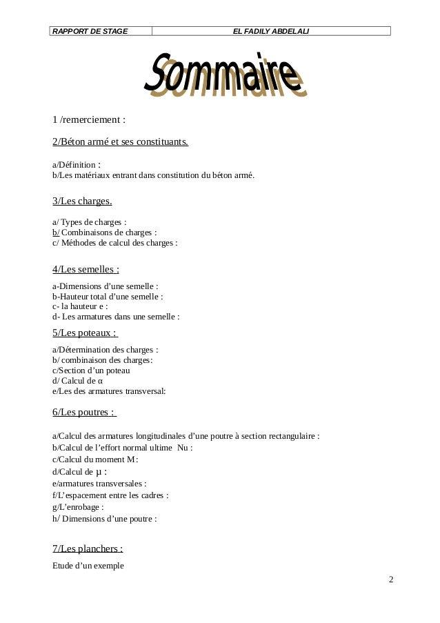 Exemple Rapport De Stage Au Bureau D Etude Btp Télécharger