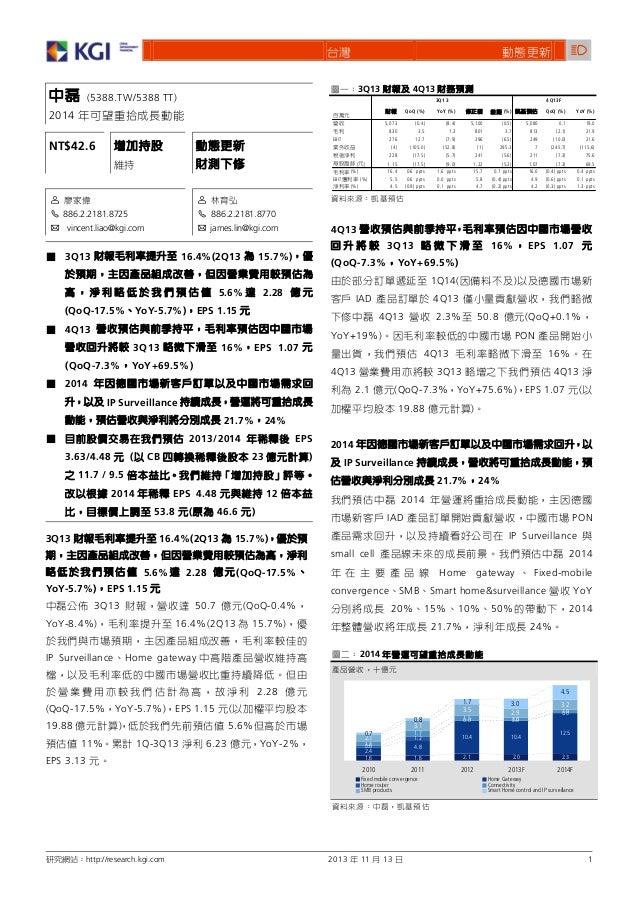 f 3Q13  (5388.TW/5388 TT)  4Q13 3Q13 QoQ (%)  2014 EBIT  NT$42.6  ( ) (%) (%) (%)  EBIT  1 2 886.2.2181.8725 3 vincent.lia...