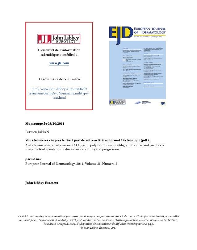 L'essentiel de l'information scientifique et m´edicale www.jle.com Le sommaire de ce num´ero http://www.john-libbey-eurotex...