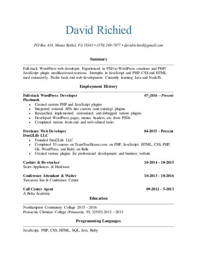 David Richied Web Developer Resume