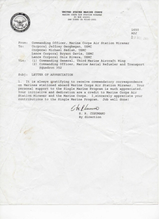 Letter of appreciation 2009 single marine program spiritdancerdesigns Image collections