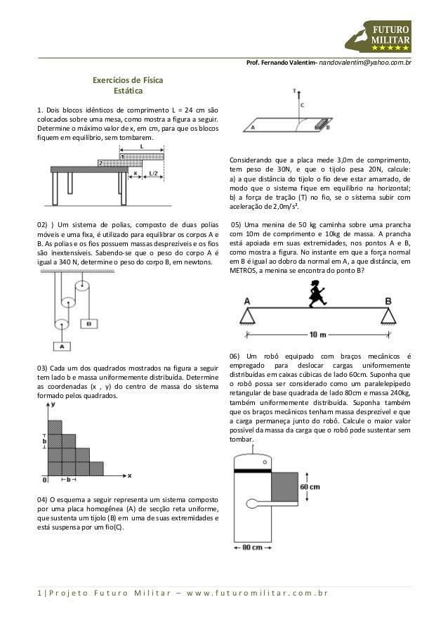 Prof. Fernando Valentim- nandovalentim@yahoo.com.br  Exercícios de Física Estática 1. Dois blocos idênticos de comprimento...