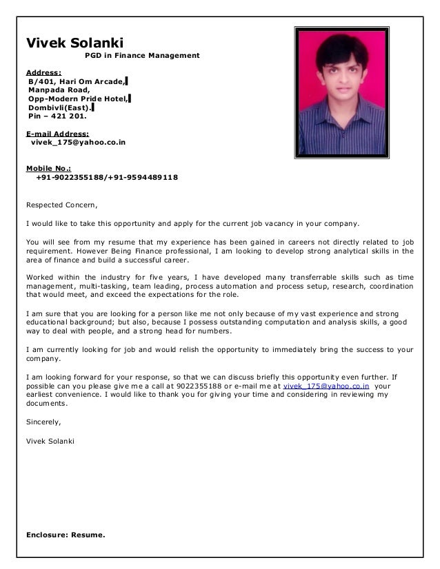 resume cover letter copy