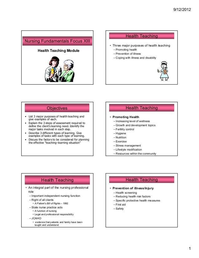 9/12/2012                                                                  Health TeachingNursing Fundamentals Focus XIII ...