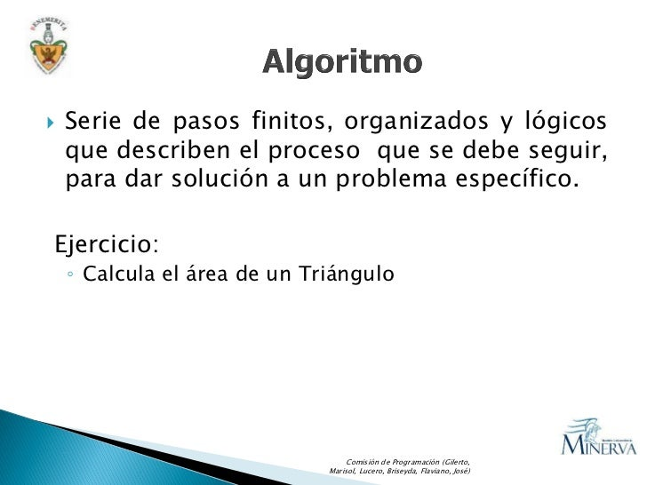    Serie de pasos finitos, organizados y lógicos     que describen el proceso que se debe seguir,     para dar solución a...