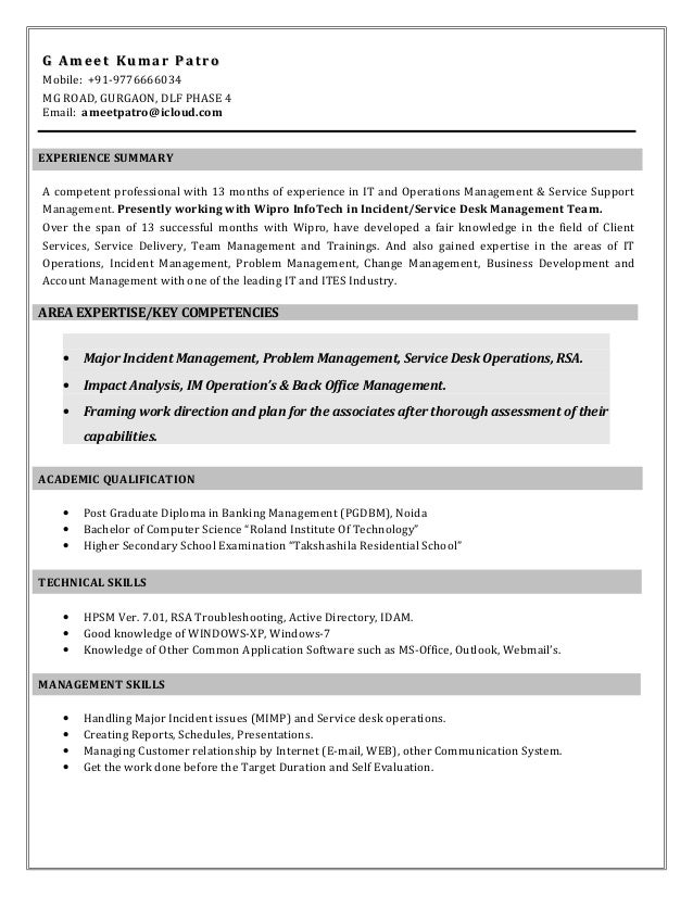 ameet patro wipro resume