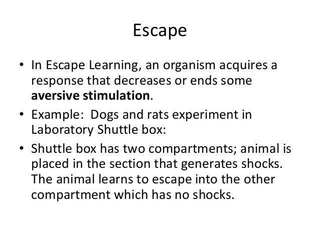 escape learning definition