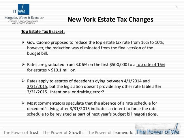 2014 NY Estate-Gift-Trust Tax Law Changes