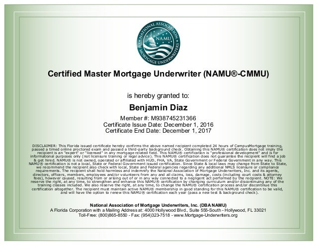 Certificate Of Master Mortgage Underwriter