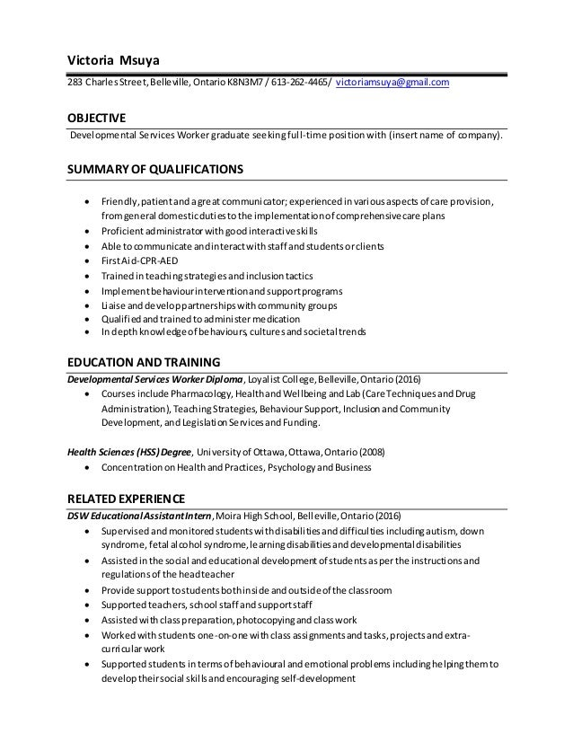 dsw resume - Inclusion Assistant Sample Resume