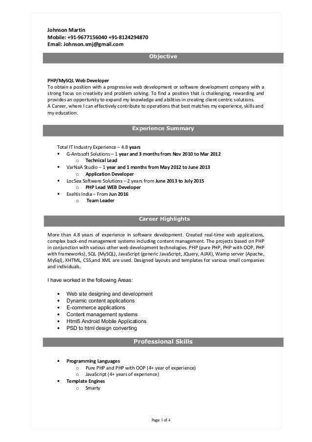 Johnson Martin Mobile: +91-9677156040 +91-8124294870 Email: Johnson.smj@gmail.com PHP/MySQL Web Developer To obtain a posi...