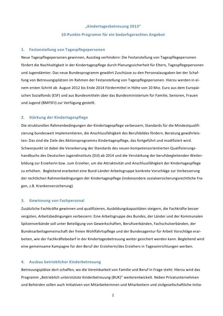 """""""Kindertagesbetreuung 2013""""                        10-Punkte-Programm für ein bedarfsgerechtes Angebot1.   Festanstellung ..."""