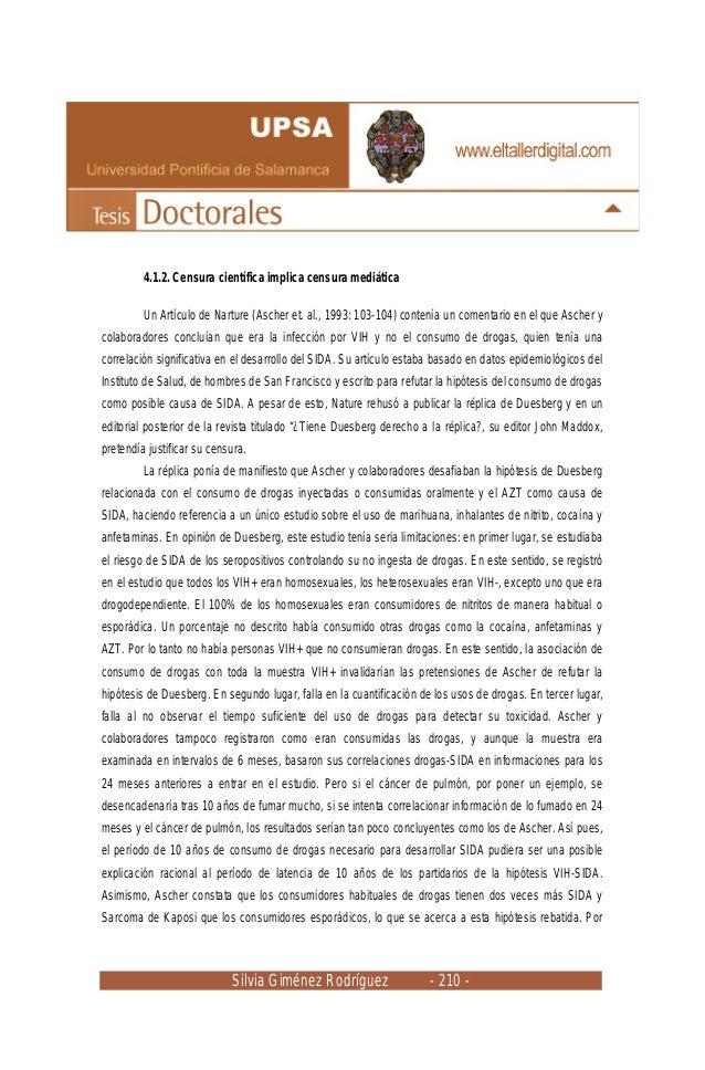 Silvia Giménez Rodríguez - 210 - 4.1.2. Censura científica implica censura mediática Un Artículo de Narture (Ascher et. al...