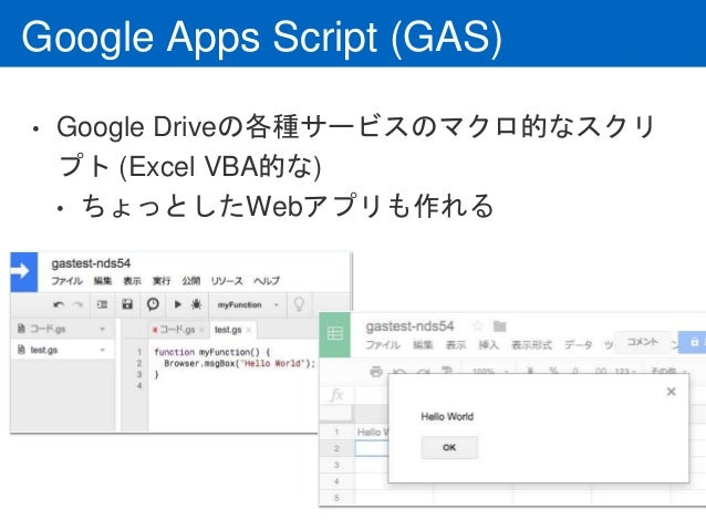 Google Apps Script (GAS) • Google Driveの各種サービスのマクロ的なスクリ プト (Excel VBA的な) • ちょっとしたWebアプリも作れる