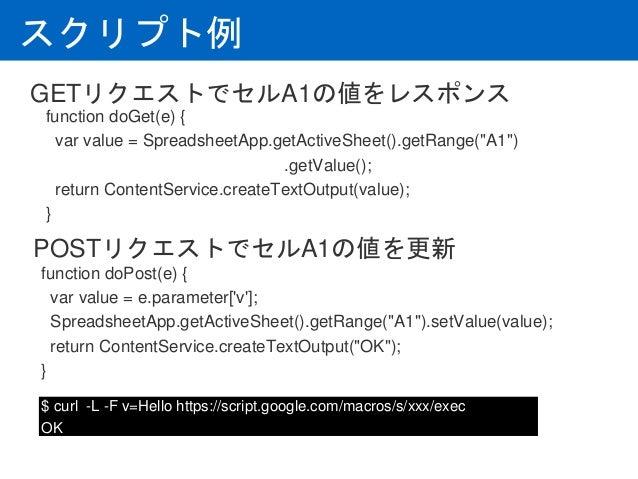 """スクリプト例 function doGet(e) { var value = SpreadsheetApp.getActiveSheet().getRange(""""A1"""") .getValue(); return ContentService...."""