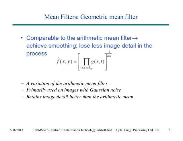 filters for noise in image processing