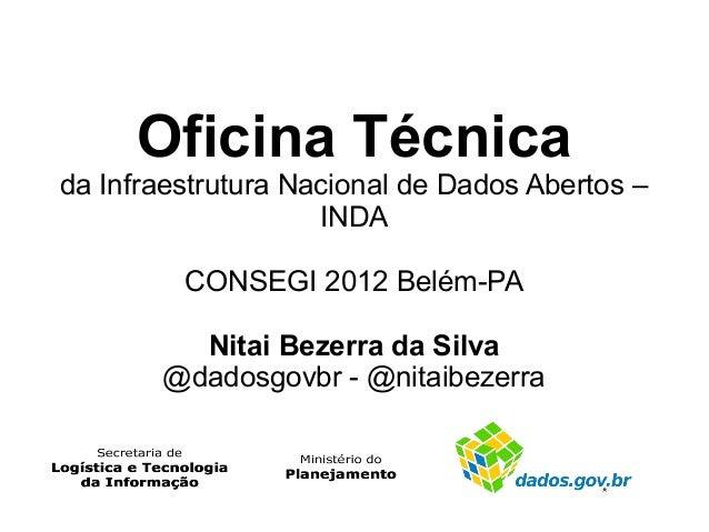 Oficina Técnicada Infraestrutura Nacional de Dados Abertos –                    INDA         CONSEGI 2012 Belém-PA        ...