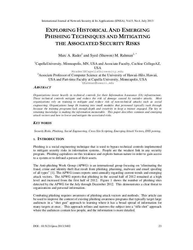 International Journal of Network Security & Its Applications (IJNSA), Vol.5, No.4, July 2013 DOI : 10.5121/ijnsa.2013.5402...