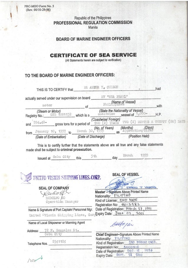 Certificate Of Sea Service