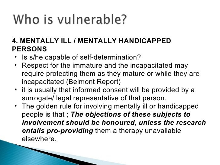 vulnerability of the mentally ill Vulnerability among persons with mental disorders : vulnerabilities and risk factors relating to mental health and ill-health, as well as an overview of.