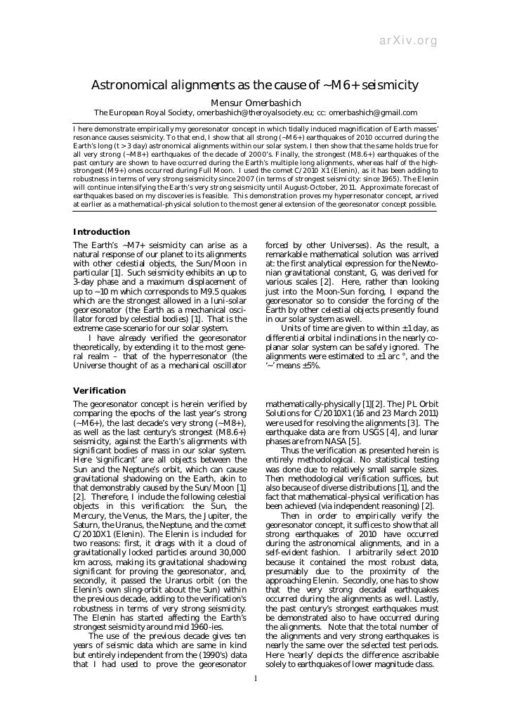 arXiv.org     Astronomical alignments as the cause of ~M6+ seismicity                                           Mensur Ome...