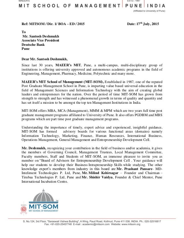 Advisory board invitation letter dolapgnetband advisory board invitation letter invitation letter to mr santosh deshmukh 2 stopboris Image collections