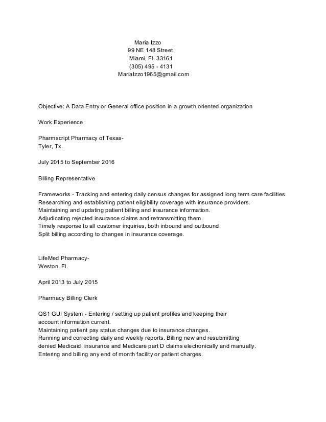 Maria Izzo 99 NE 148 Street Miami, Fl. 33161 (305) 495 - 4131 MariaIzzo1965@gmail.com Objective: A Data Entry or General o...