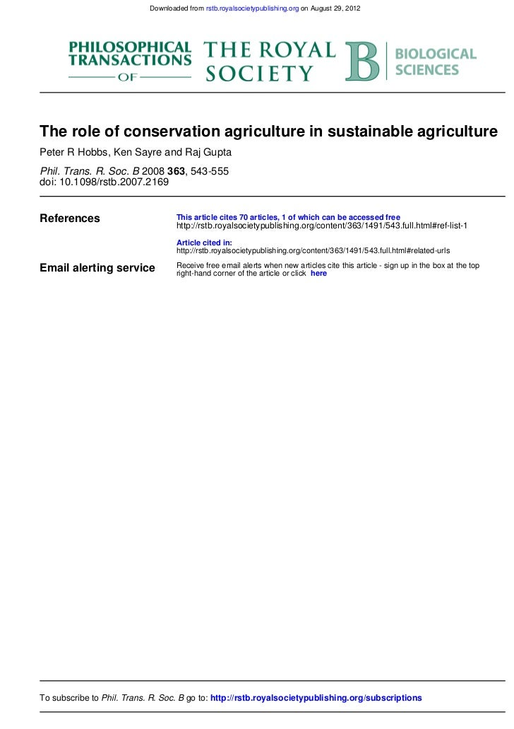 Downloaded from rstb.royalsocietypublishing.org on August 29, 2012The role of conservation agriculture in sustainable agri...