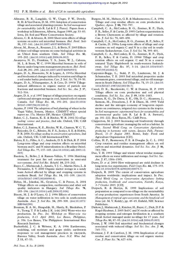 Downloaded from rstb.royalsocietypublishing.org on August 29, 2012552    P. R. Hobbs et al.       Role of CA in sustainabl...