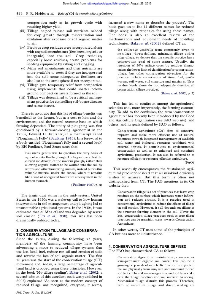 Downloaded from rstb.royalsocietypublishing.org on August 29, 2012544       P. R. Hobbs et al.    Role of CA in sustainabl...
