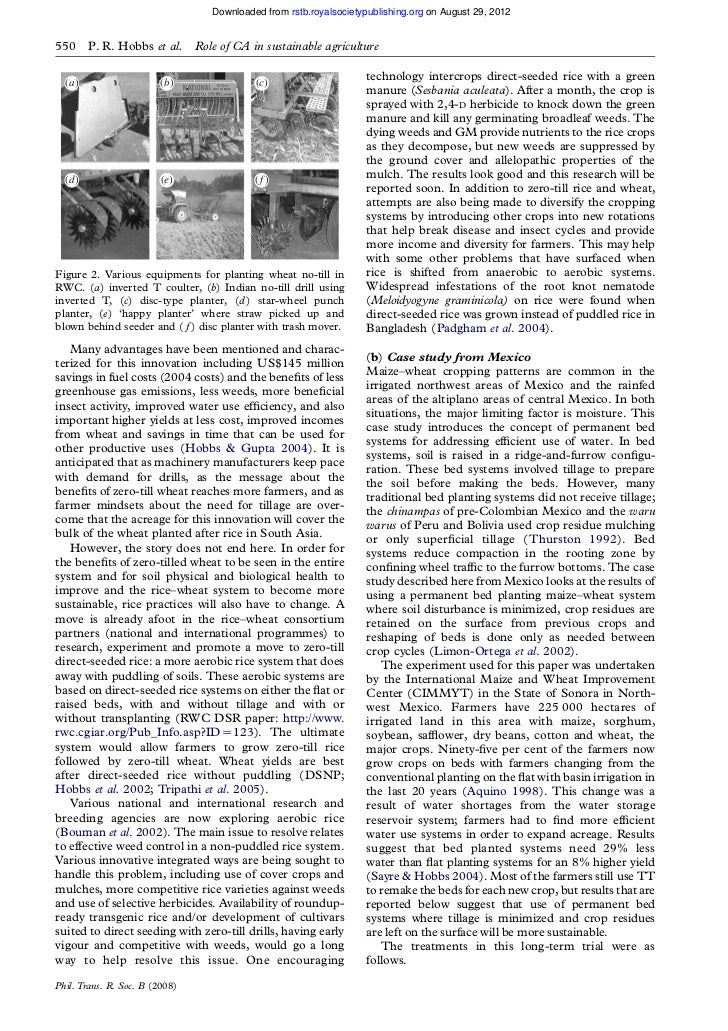 Downloaded from rstb.royalsocietypublishing.org on August 29, 2012550     P. R. Hobbs et al.      Role of CA in sustainabl...