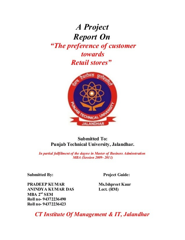 project report on retail store pdf