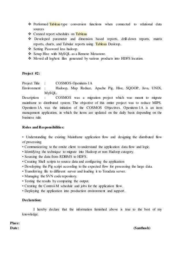 Hadoop Resume