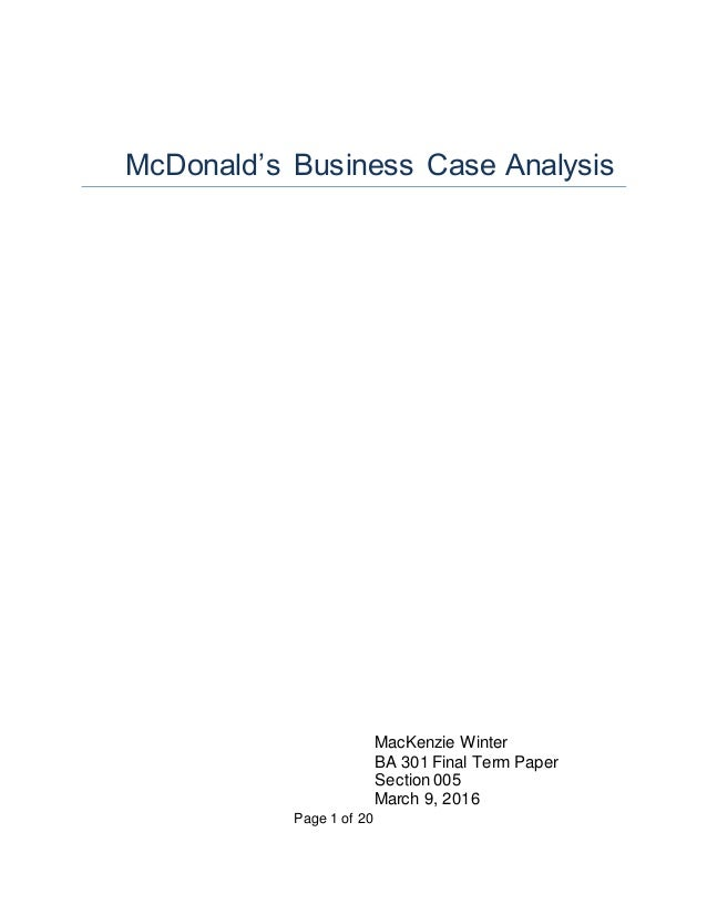 Mcdonalds research paper