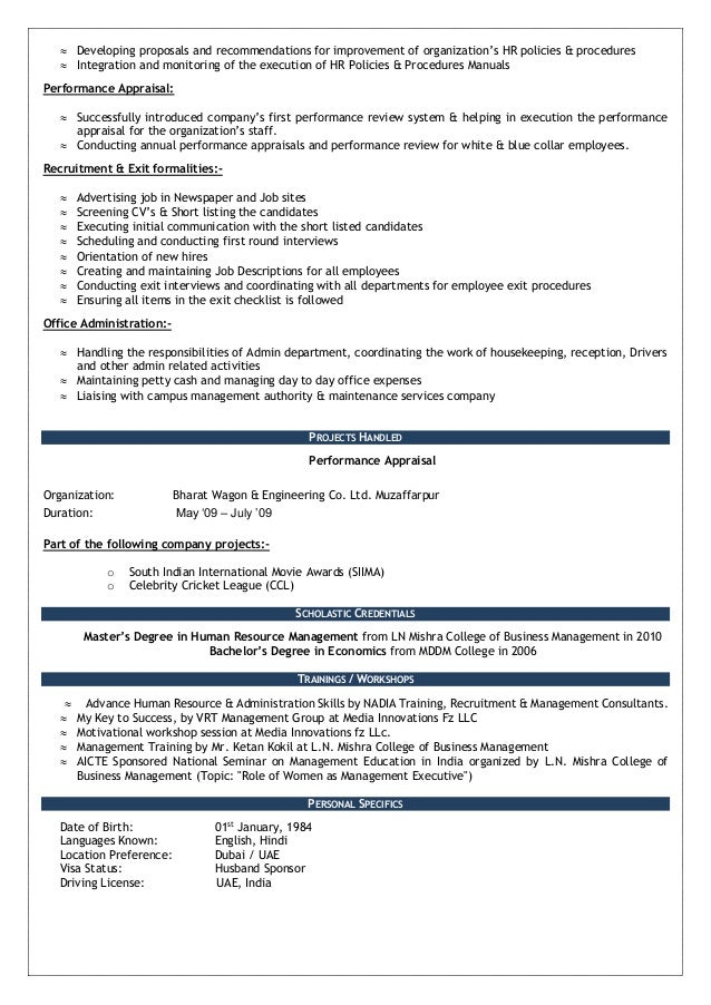 resume following company policy and procedure