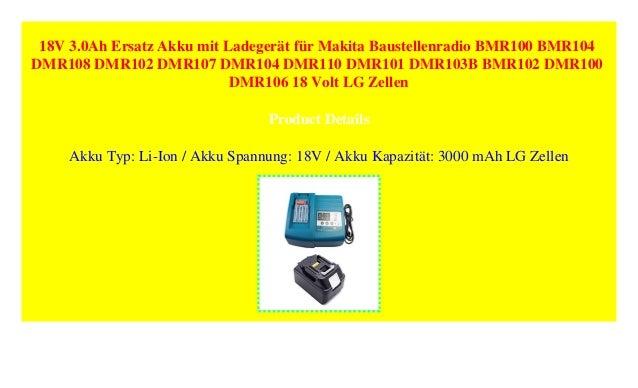 Akku Baustellenradio Ladegerät Makita DMR107 1 x 4,0 Ah