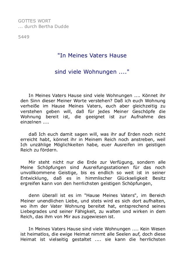 """GOTTES WORT ... durch Bertha Dudde 5449 """"In Meines Vaters Hause sind viele Wohnungen ...."""" In Meines Vaters Hause sind vie..."""