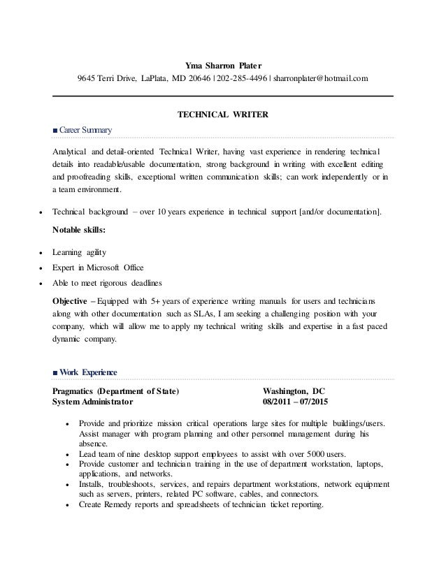 my resume for technical writer  1