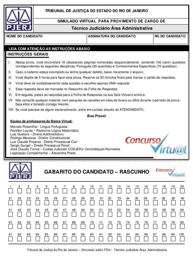 TRIBUNAL DE JUSTIÇA DO ESTADO DO RIO DE JANEIRO SIMULADO VIRTUAL PARA PROVIMENTO DE CARGO DE Técnico Judiciário Área Admin...