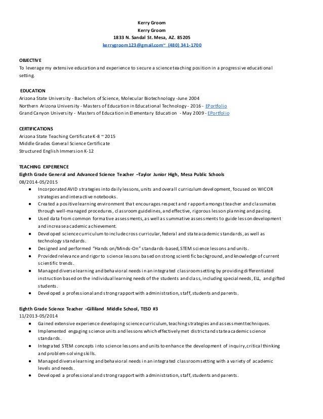 Kerrygroomresumescienceeducator2016