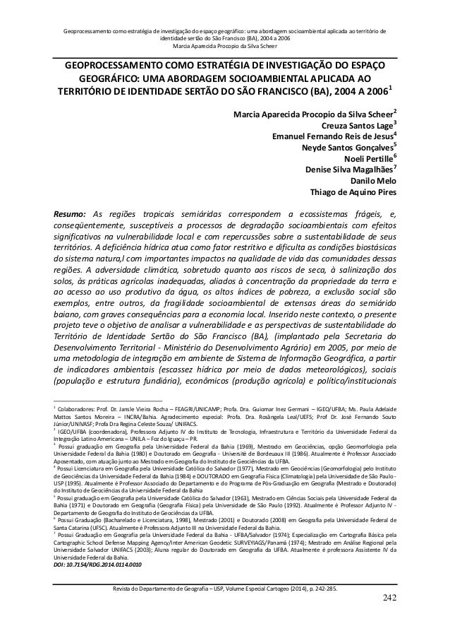 Geoprocessamento como estratégia de investigação do espaço geográfico: uma abordagem socioambiental aplicada ao território...