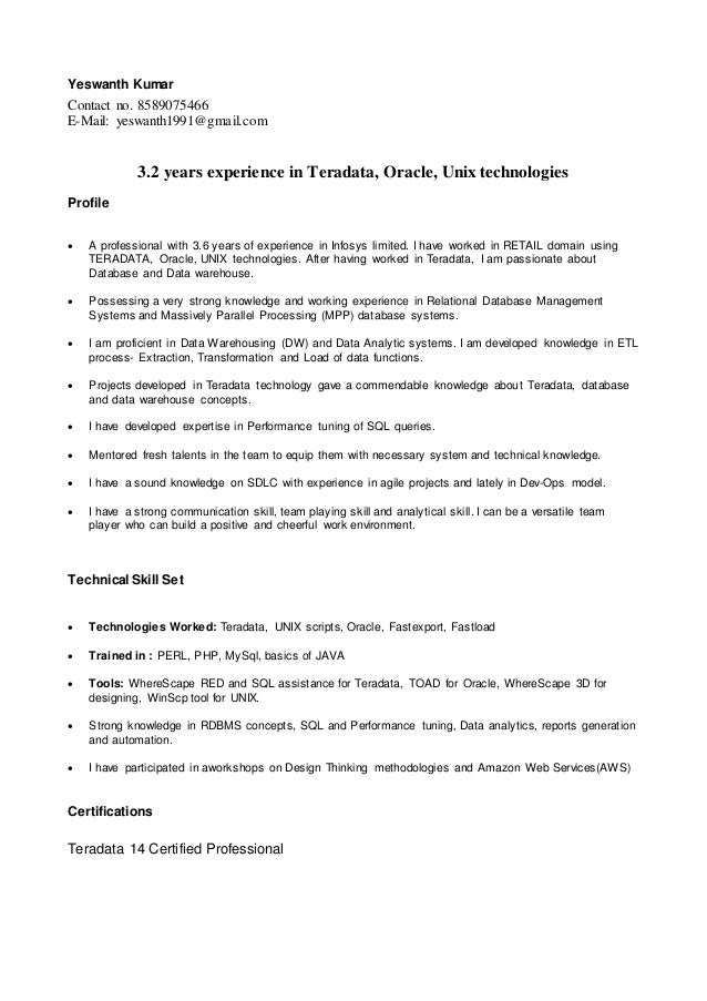 yeswanth resume