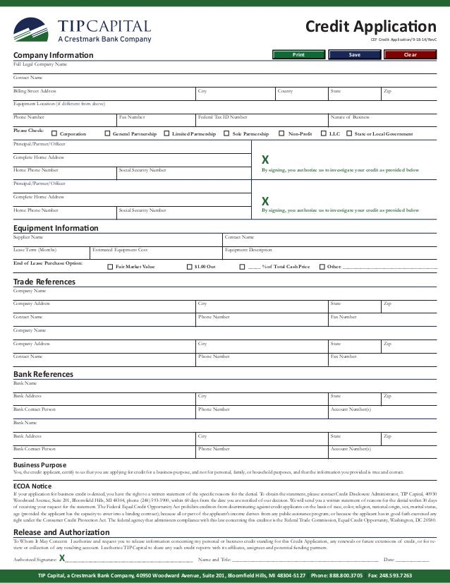 Tip Credit Application Form