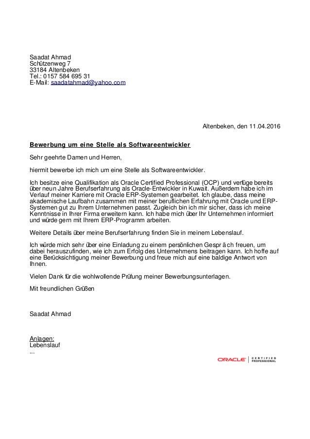 Saadat Ahmad Schützenweg 7 33184 Altenbeken Tel.: 0157 584 695 31 E-Mail: saadatahmad@yahoo.com Altenbeken, den 11.04.2016...